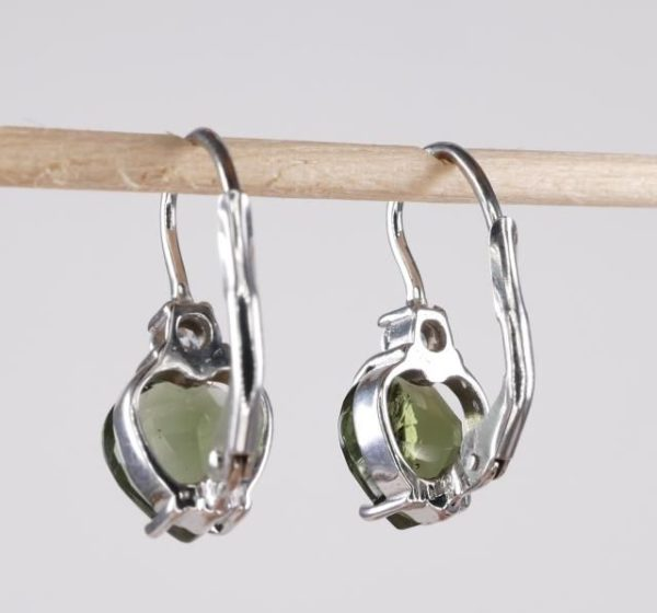 High Quality Moldavite With Cubic Zirconia Earrings With Certificate Of Authenticity (2.5grams) 3