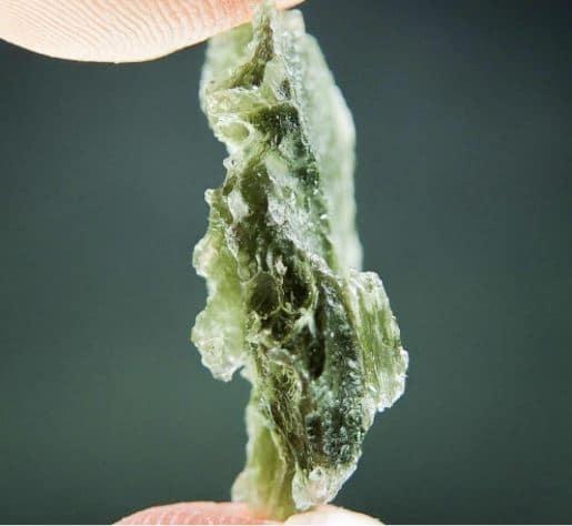 Olive Green Moldavite with Lechatelierite (3.84grams) 3