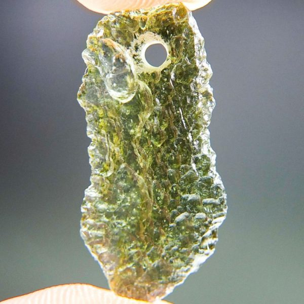 Bottle Green Drilled Moldavite with Certificate of Authenticity (1.6grams) 1