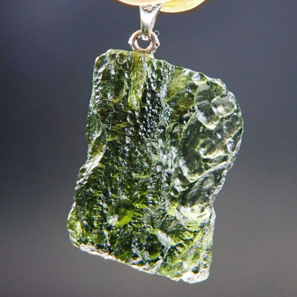 Bottle Green Shiny Moldavite Pendant With Certificate Of Authenticity (5.24grams) 1