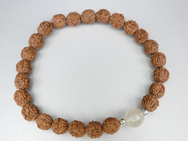 8mm Libyan Desert Glass Bead and Powerful Rudraksha Bracelet (5.0grams) 1