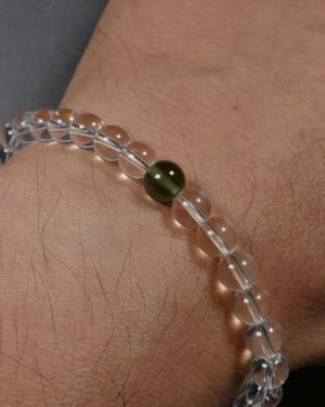 6.5mm Bead Moldavite and Rock Crystal Bracelet (10.0grams) 1