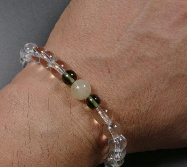 Moldavite with Libyan Desert Glass and Rock Crystal Bracelet (18.0grams) 1