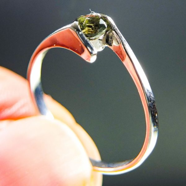 Bottle Green Faceted Moldavite Ring (1.2grams) With Certificate Of Authenticity (US 7) 1