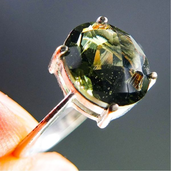 Bottle Green Faceted Moldavite Ring (2.3grams) With Certificate Of Authenticity (US 8) 1