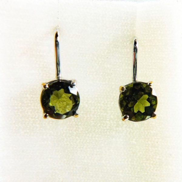 Bottle Green Faceted Moldavite Earrings With Certificate Of Authenticity (2.0grams) 1