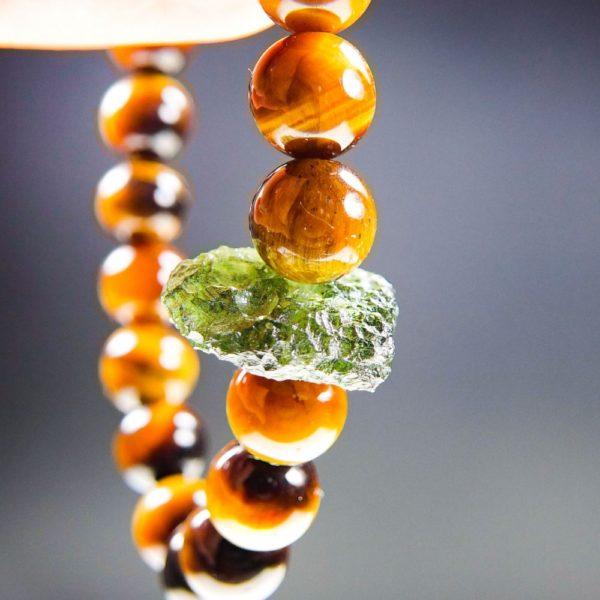 Tyger's Eye Beads Moldavite Bracelet With Certificate Of Authenticity (20.01grams) 1