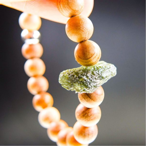 Quality A Moldavite Bracelet With Chestnut Wood Beads And Certificate Of Authenticity (7.72grams) 1