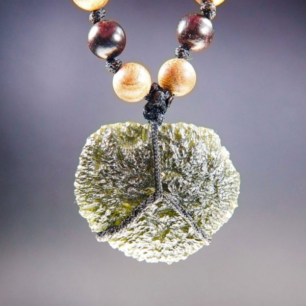 Quality A+ Moldavite Necklace with Phoebe and Rosewood Beads and Certificate of Authenticity (26.92grams) 1