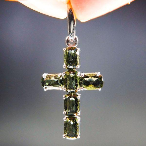 Bottle Green Cross Shape Moldavite Pendant With Certificate Of Authenticity (2.53grams) 1