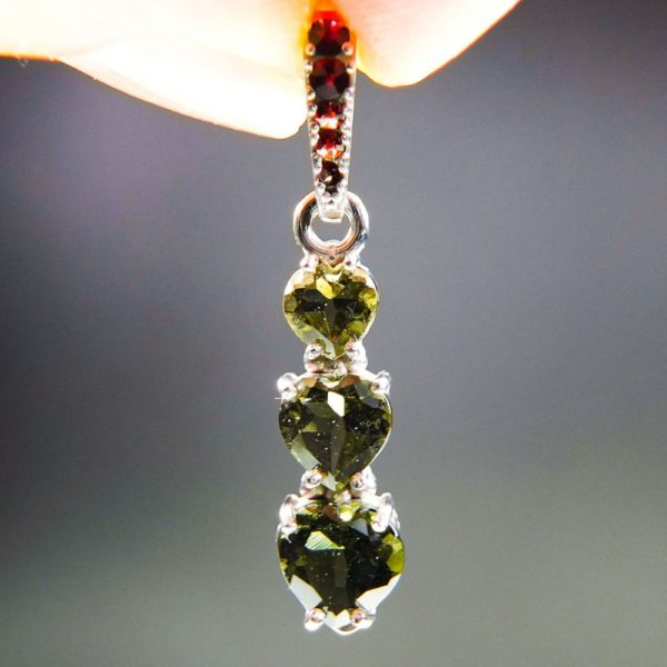 Three Heart Moldavite With Red Garnets And Certificate Of Authenticity (1.8grams) 1