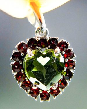 Heart Shape Moldavite Plus Red Faceted Garnets Pendant With Certificate Of Authenticity (2.28grams) 1