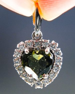 Heart Shape Moldavite Plus Zircons Pendant With Certificate Of Authenticity (2.31grams) 1
