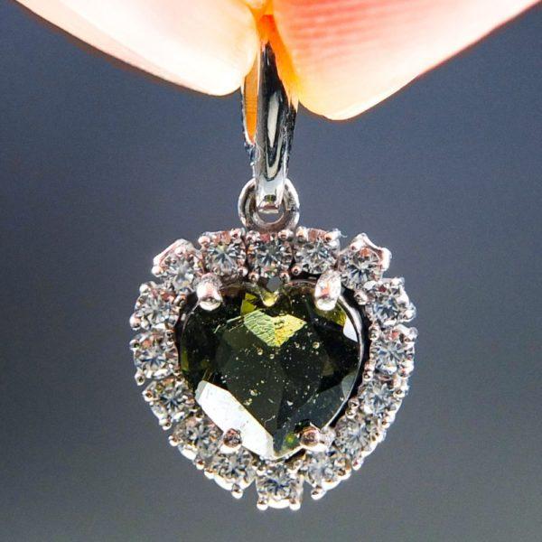 Heart Shape Moldavite Plus Zircons Pendant With Certificate Of Authenticity (2.31grams) 1