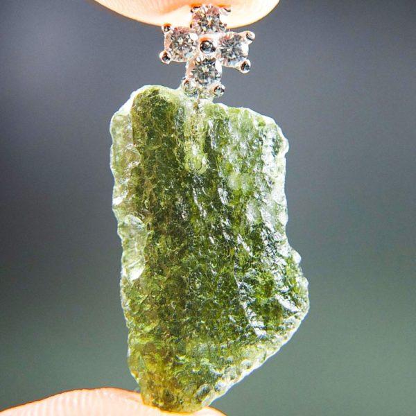 Bottle Green Moldavite Pendant Plus Cross Zircons With Certificate Of Authenticity (2.69grams) 1