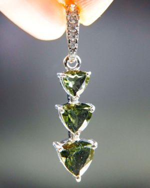 Three Piece Moldavite Pendant Plus Zircons With Certificate Of Authenticity (2.07grams) 1