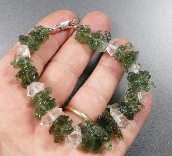 Genuine Raw Moldavites with Herkimmer Diamond Quartz (25.5grams) 1