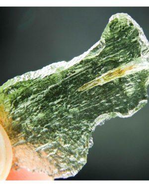 Naturally Thin Glossy Moldavite With Open Bubble (3.48grams) 1