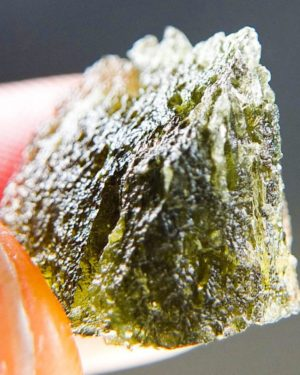 Brown Green Moldavite With Two Kinds Of Sculpture (2.62grams) 1