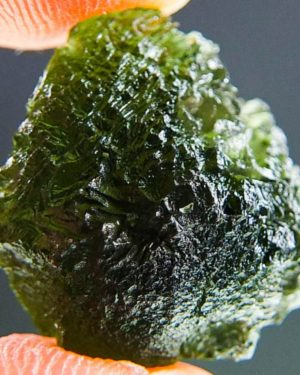 Shiny Moldavite With Two Kinds Of Sculpture (3.36grams) 1