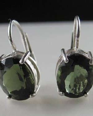 Oval Shape Moldavite In Sterling Silver Earrings (2.8grams) 1