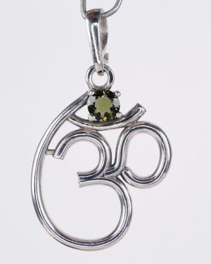 5mm Moldavite In Om Symbol Sterling Silver Pendant (1.9grams) 1