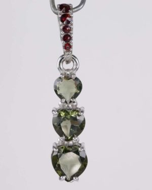 Three Heart Moldavite With Garnet Sterling Silver Pendant (2.0grams) 1