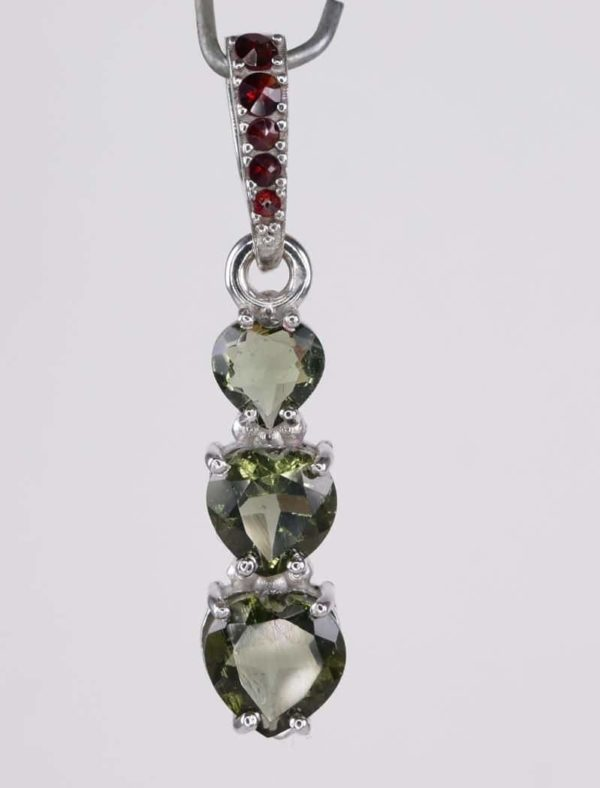 Three Heart Moldavite With Garnet Sterling Silver Pendant (2.0grams) 1