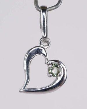 Round Cut 3mm Moldavite Heart Shape Sterling Silver Pendant (1.2grams) 1
