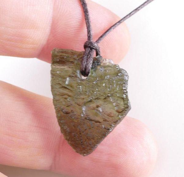 Genuine Moldavite Drilled Pendant on Cord (3.7grams) 1