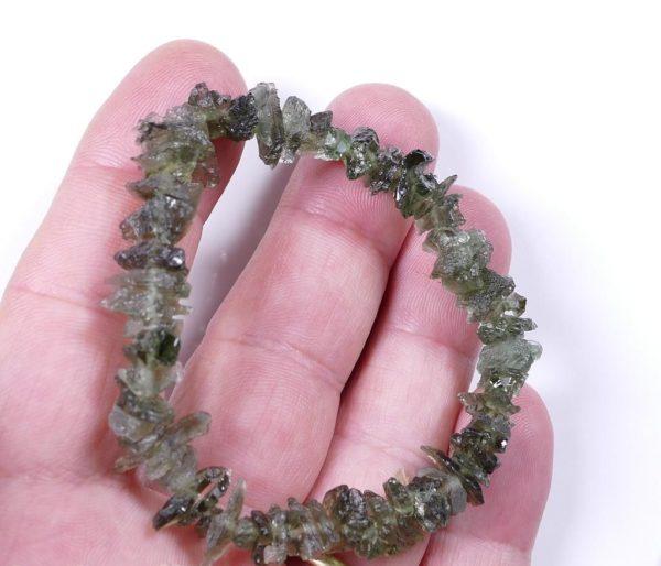 Unique Moldavite Raw Chips Stretch Bracelet (10.3grams) 1