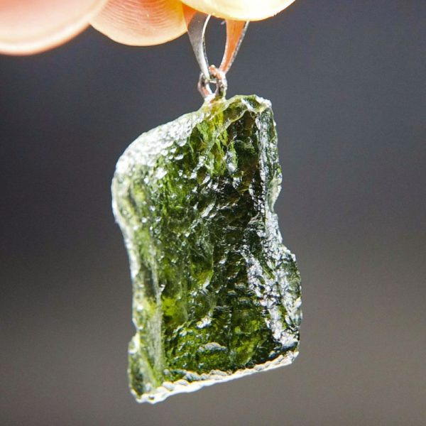 Bottle Green Shiny Moldavite Pendant With Certificate Of Authenticity (5.24grams) 2