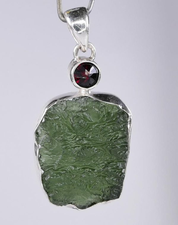 Elegant Rare Moldavite with Garnet Mounted In Sterling Silver (6.5grams) 2