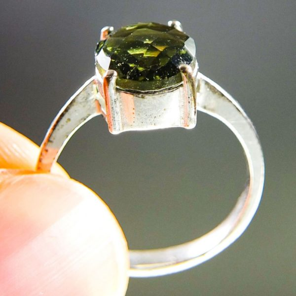 Bottle Green Faceted Moldavite Ring (2.3grams) With Certificate Of Authenticity (US 8) 2
