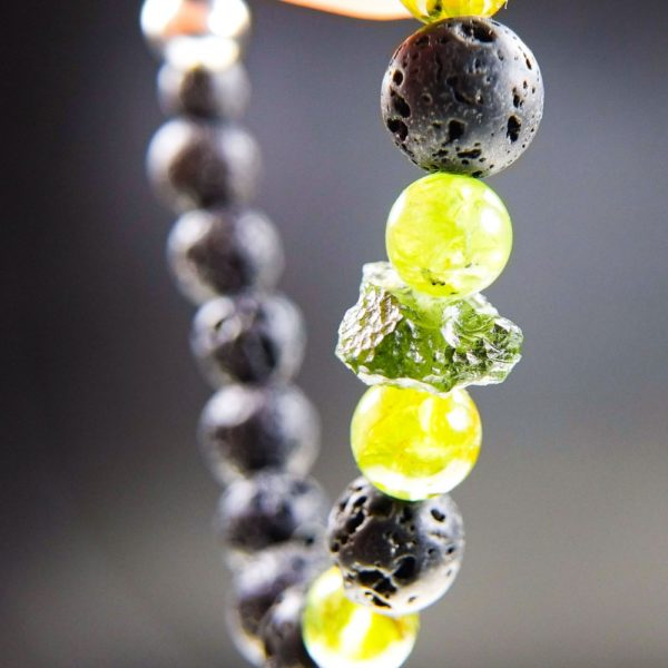 Quality A Moldavite Bracelet With Peridot, Lava Beads And Certificate Of Authenticity (16.49grams) 2