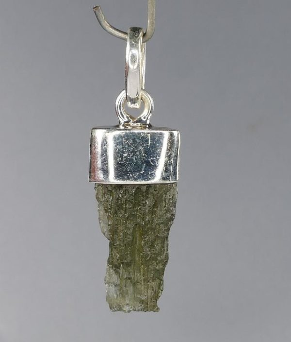 First Grade Raw Moldavite Drilled in Silver Pendant (2.0grams) 2