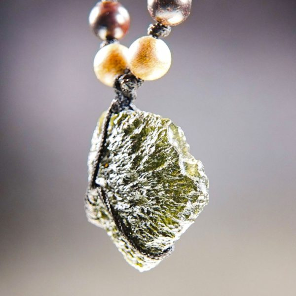 Quality A+ Moldavite Necklace with Phoebe and Rosewood Beads and Certificate of Authenticity (26.92grams) 2