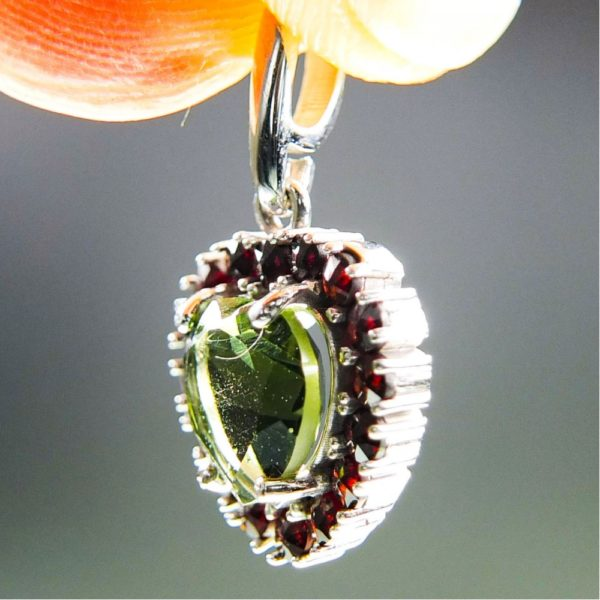Heart Shape Moldavite Plus Red Faceted Garnets Pendant With Certificate Of Authenticity (2.28grams) 2