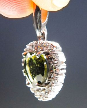 Heart Shape Moldavite Plus Zircons Pendant With Certificate Of Authenticity (2.31grams) 2