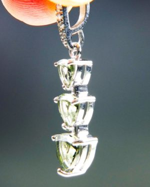 Three Piece Moldavite Pendant Plus Zircons With Certificate Of Authenticity (2.07grams) 2