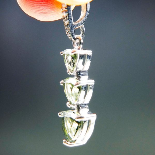 Three Piece Moldavite Pendant Plus Zircons With Certificate Of Authenticity (2.07grams) 2