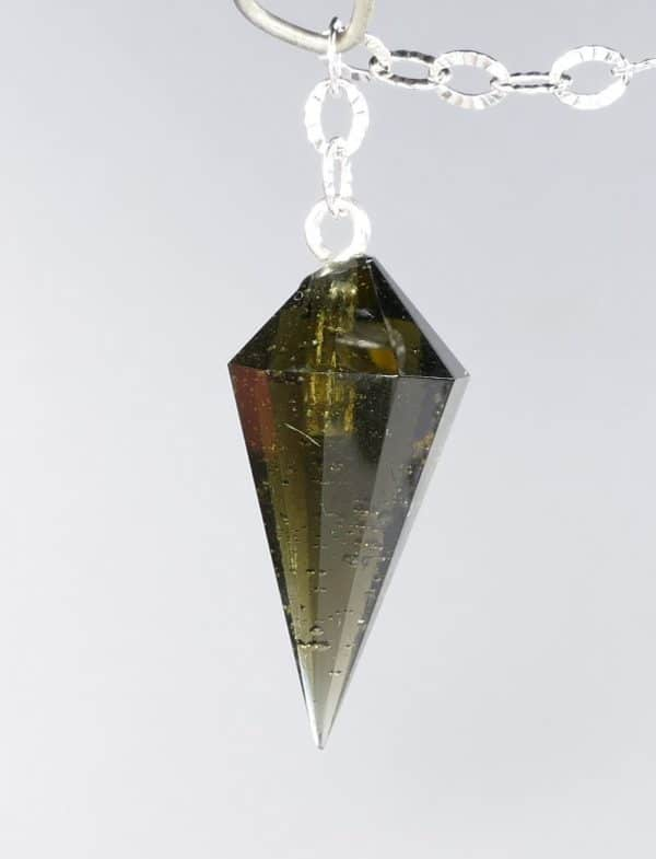 Fine Quality Gemmy Moldavite Pendulum with Silver Chain (1.8grams) 2