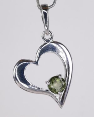 Round Cut Moldavite Heart Shape Sterling Silver Pendant (2.9grams) 2