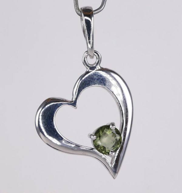 Round Cut Moldavite Heart Shape Sterling Silver Pendant (2.9grams) 2