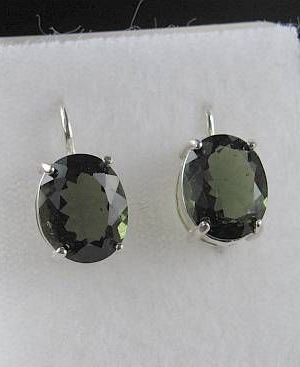 Oval Shape Moldavite In Sterling Silver Earrings (2.8grams) 2