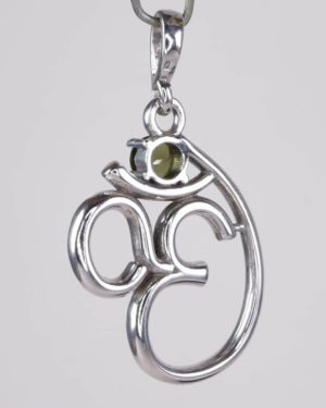 5mm Moldavite In Om Symbol Sterling Silver Pendant (1.9grams) 2