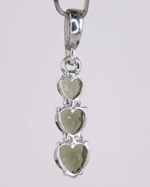 Three Heart Moldavite With Garnet Sterling Silver Pendant (2.0grams) 2