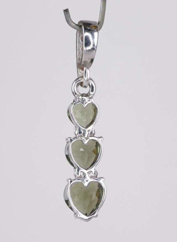 Three Heart Moldavite With Garnet Sterling Silver Pendant (2.0grams) 2