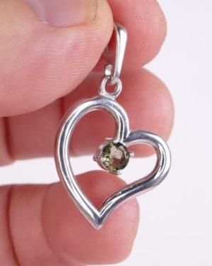 Round Cut 3mm Moldavite Heart Shape Sterling Silver Pendant (1.2grams) 2