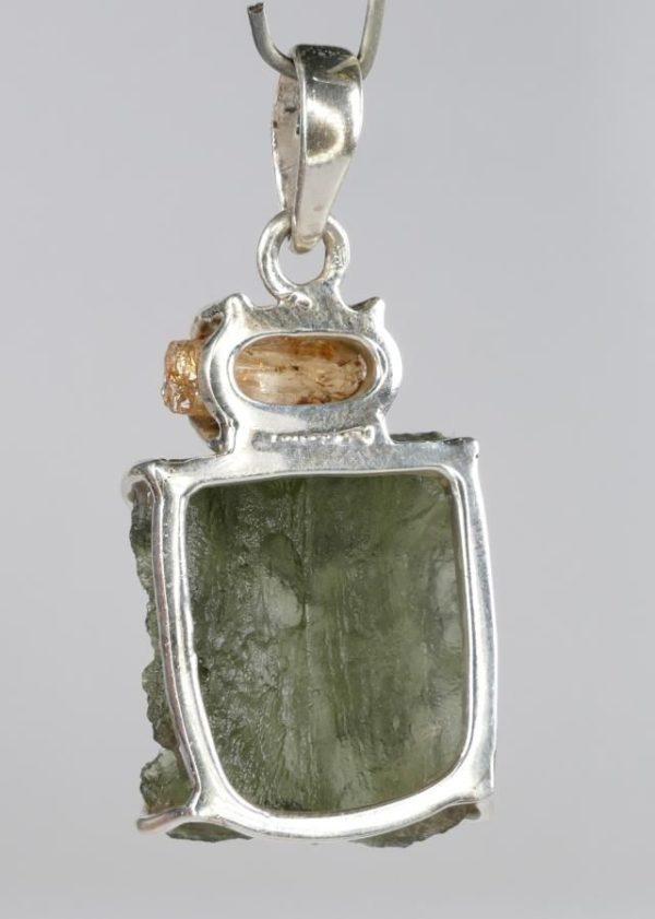 Fine Grade Raw Moldavite with Imperial Topaz Sterling Silver Pendant (7.9grams) 2